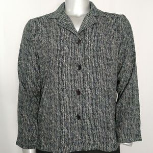 Briggs Horizontal Print Button V-Collar Blazer 14